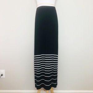 WHBM Long Black White/Silver Stripped Skirt (XS)